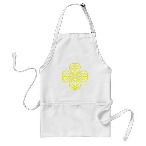 yellow shamrock celtic knot adult apron