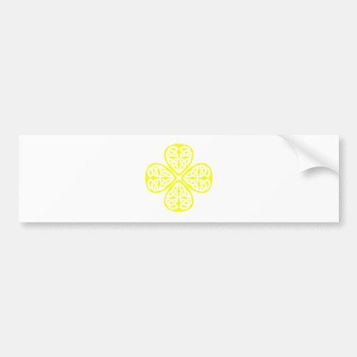yellow shamrock celtic knot bumper sticker