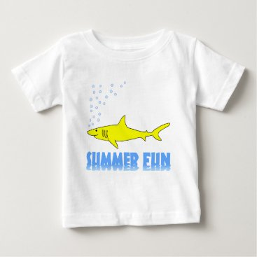 Beach Themed Yellow Shark Baby T-Shirt