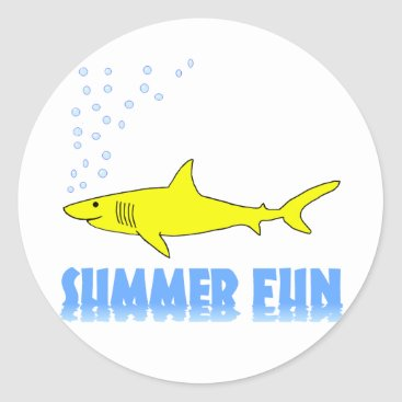 Beach Themed Yellow Shark Classic Round Sticker