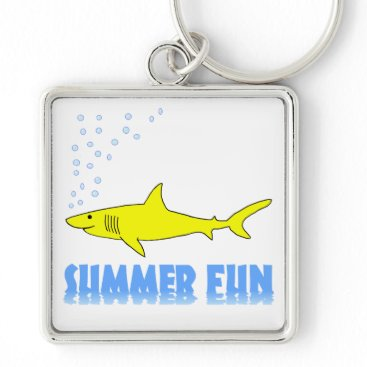 Beach Themed Yellow Shark Keychain