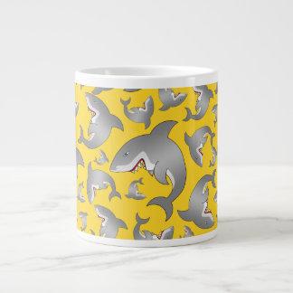 Yellow shark pattern large coffee mug