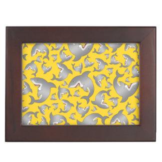 Yellow shark pattern keepsake boxes