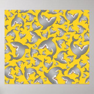 Yellow shark pattern posters