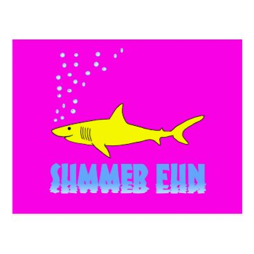 Beach Themed Yellow Shark Postcard
