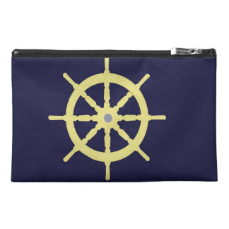 Yellow Ship Helm - Navy Blue Travel Accessory Bags