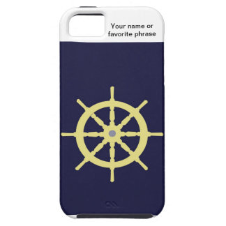 Yellow Ship Helm - Navy Blue iPhone 5 Cover