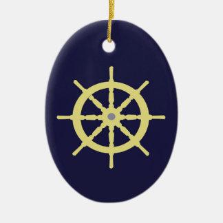 Yellow Ship Helm - Navy Blue Ceramic Ornament