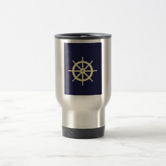 Yellow Ship Helm - Navy Blue Coffee Mugs