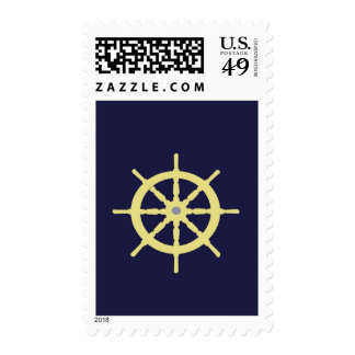 Yellow Ship Helm - Navy Blue Stamps