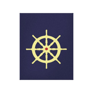 Yellow Ship s Wheel with Red Gallery Wrapped Canvas