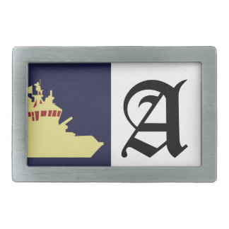 Yellow ship with red. rectangular belt buckle