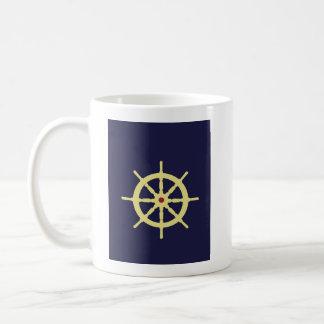 Yellow Ship's Wheel with Red Coffee Mug