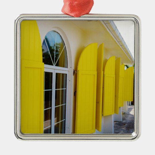 Yellow shutters metal ornament