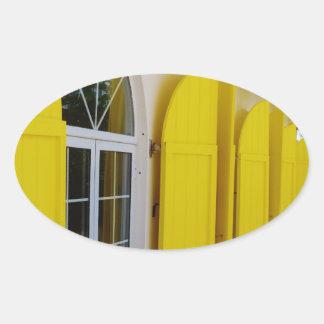 Yellow shutters oval sticker