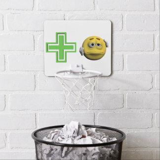 Yellow sick emoticon or smiley mini basketball hoop