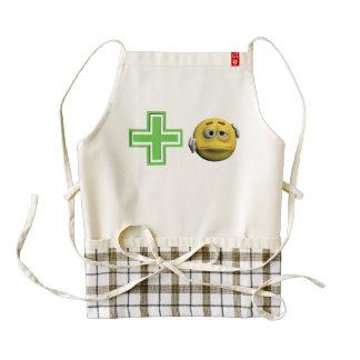 Yellow sick emoticon or smiley zazzle HEART apron