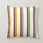 [ Thumbnail: Yellow, Sienna, Powder Blue, Maroon & Mint Cream Throw Pillow ]