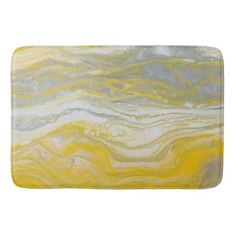 Yellow & Silver Abstract Bath Mat