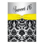 Yellow, Silver, Black Damask Sweet 16 Invitation