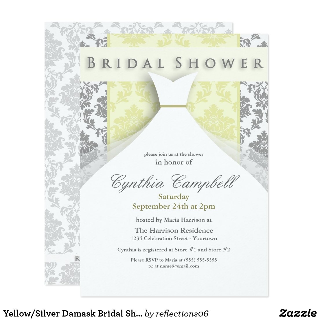 Yellow/Silver Damask Bridal Shower Invitations