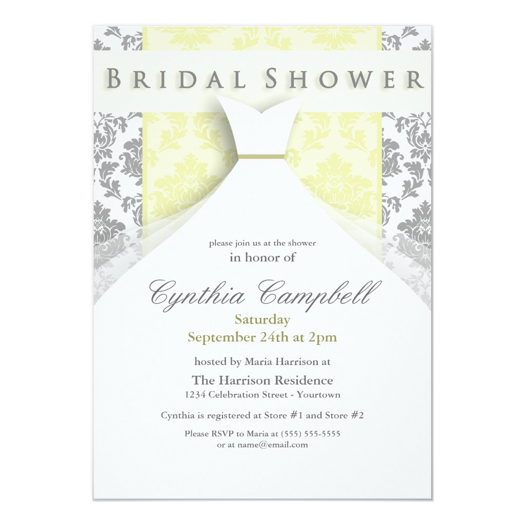 Yellow/Silver Damask Bridal Shower Invitations