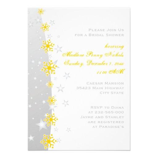 Yellow silver grey snowflake wedding bridal shower for Yellow bridal shower invitations