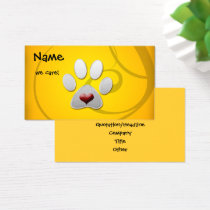 Yellow Silver Paw Heart Pet Business Card