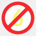 Yellow Six Red Circle Slash Sticker (White Bkgd)