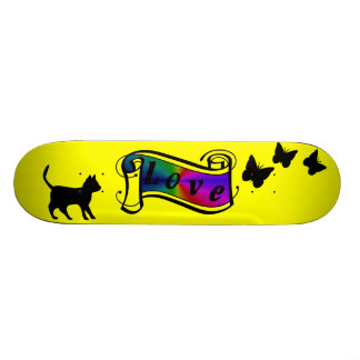 Yellow skateboard black cat with butterfly