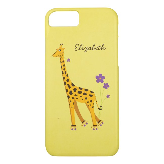 Yellow Skating Cartoon Giraffe