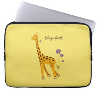 Yellow Skating Funny Cartoon Giraffe Personalized Computer Sleeves