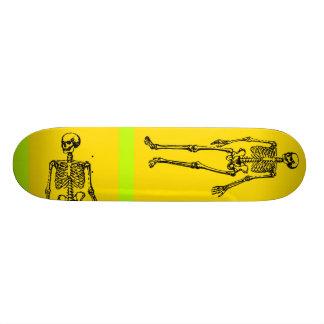 yellow skeleton skateboard deck