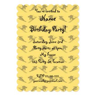 Yellow ski pattern 5x7 paper invitation card