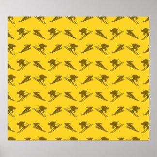 Yellow ski pattern poster