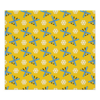 yellow skis and snowflakes pattern poster