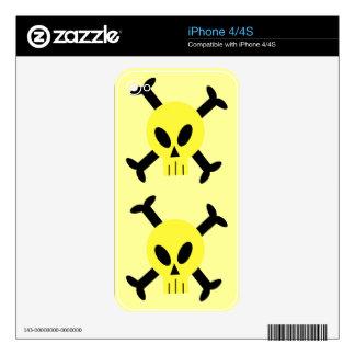 Yellow Skull And Crossbones Apple iPhone 4 Skin