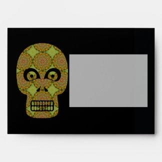 Yellow Skull Fractal Pattern Envelope