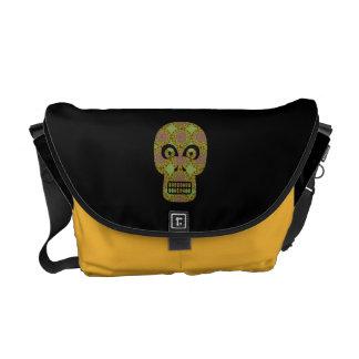 Yellow Skull Fractal Pattern Messenger Bag