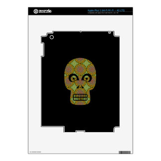 Yellow Skull Fractal Pattern iPad 3 Skins