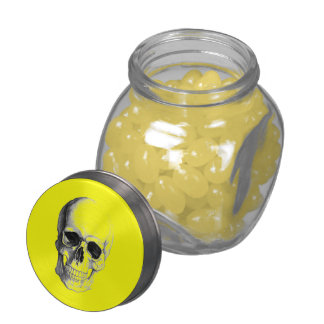 Yellow Skull Head Candy Containers Glass Candy Jars