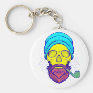 Yellow Skull Smoking Pipe. Keychain