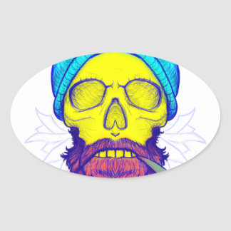 Yellow Skull Smoking Pipe. Oval Sticker