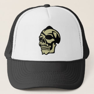 Yellow skull trucker hat