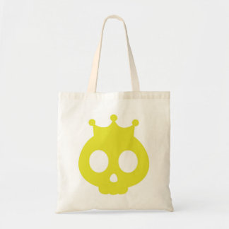 Yellow Skull with Crown Cartoon Tote Bag