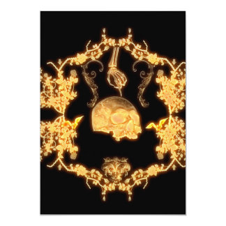 yellow skull with flowers card