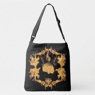 yellow skull with flowers crossbody bag
