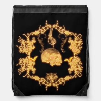 yellow skull with flowers drawstring backpack