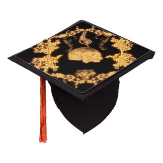 yellow skull with flowers graduation cap topper