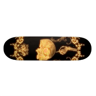 yellow skull with flowers skateboard